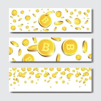 Set horyzontalni sztandary z złotymi bitcoins