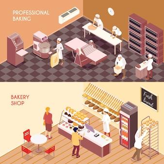 Set horyzontalnych isometric sztandarów fachowy robić mąka produkty i piekarnia sklep odizolowywał wektorową ilustrację