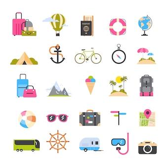 Set ikony dla podróży i turystyki aktywnego wakacje, dennej plaży rekreacyjny wakacyjny pojęcie