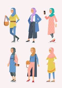 Set isometric kobiety hijab moda z różnorodnym stylem, muzułmańskie kobiety ilustracyjne