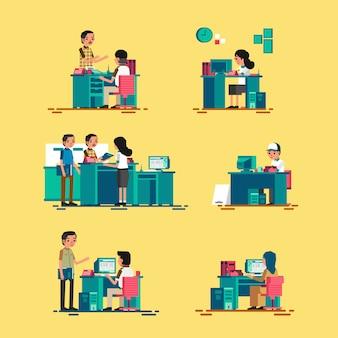 Set isometric ludzie pracuje w biurze, pracuje na komputerze i słuzyć klientowi, ilustracyjny frontowy widok i tylny widok