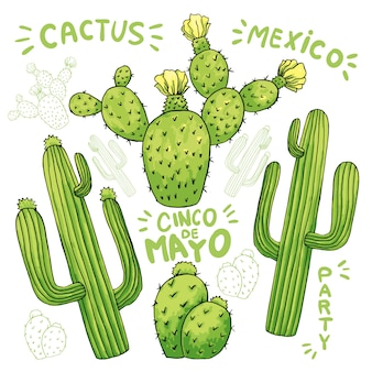 Set jadalny kaktus lub kaktusy dla cinco de mayo