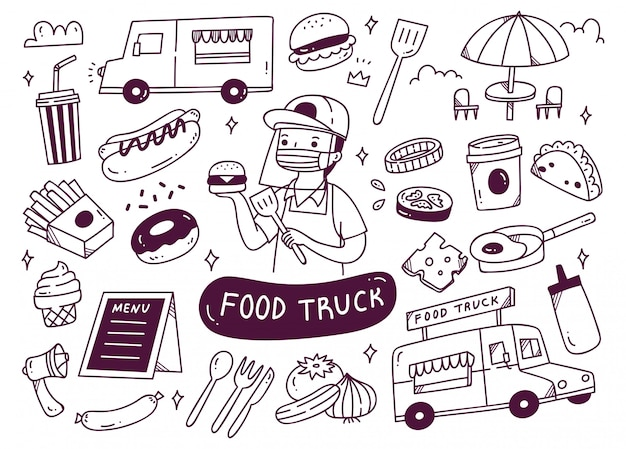 Set jedzenie ciężarówka doodles ilustrację