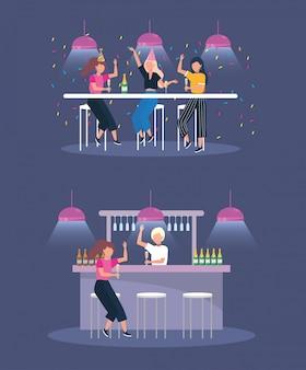 Set kobiety w przyjęciu z szampańskimi butelkami i światłami