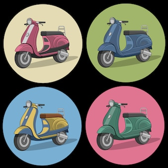 Set kolorowe retro hulajnoga ikony