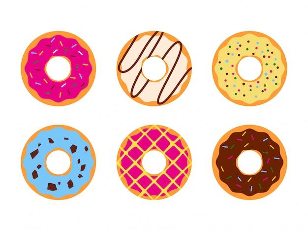 Set kolorowi donuts glazurował słodkiego cukrowego lodowacenie