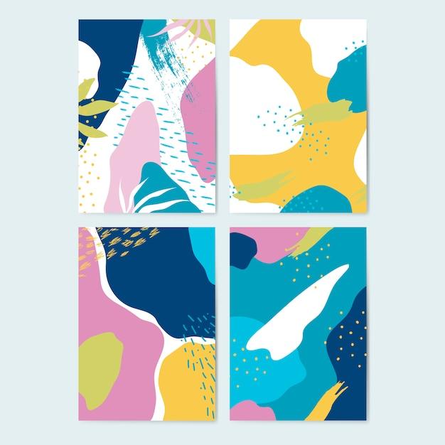 Set kolorowi memphis stylu tła wektorowi