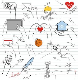 Set kolorowy doodle na papierowym tle doodle ręki gestów elementy