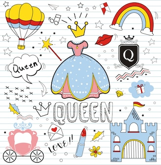 Set kolorowy doodle na papierowym tle, doodles królowej elementy