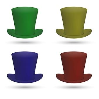 Set kolorowy odgórny kapelusz odizolowywający na białym tle