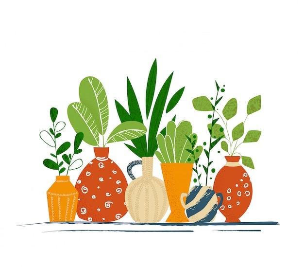Set kryty ogród doniczkowe rośliny lub domowi kwiaty - odosobnione rzeczy na białym tle
