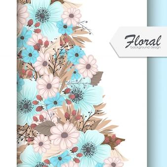 Set kwiecista rama z kolorowym kwiatem.