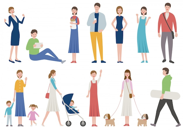 Set ludzie w różnorodnym stylu życia odizolowywającym. wektorowa płaska ilustracja.
