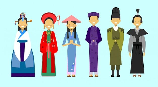 Set ludzie w tradycyjnej azjatyckiej odzieży, krajowy kostiumu pojęcie