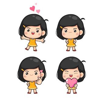 Set mała śliczna dziewczyna w wiele pozie