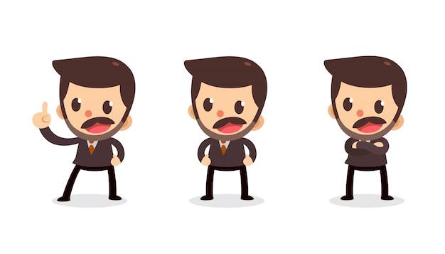 Set malutki biznesmena charakter w akcjach. mów i mów.