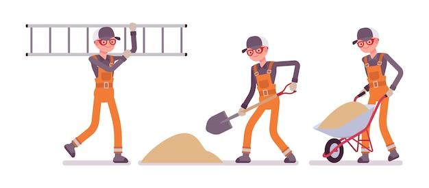 Set męski pracownik w pomarańczowym kombinezonie pracuje z piaskiem