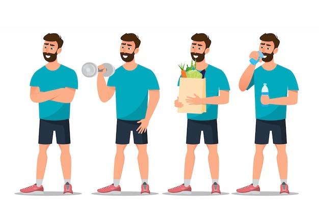 Set mężczyzna ćwiczy w gym na białym tle