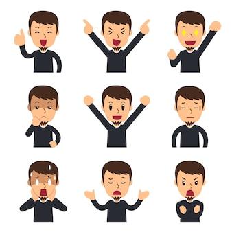 Set mężczyzna stawia czoło pokazywać różne emocje