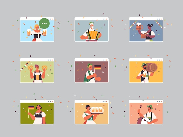 Set mix race ludzie świętujący festiwal oktoberfest mężczyźni kobiety w oknach przeglądarki internetowej bawią się