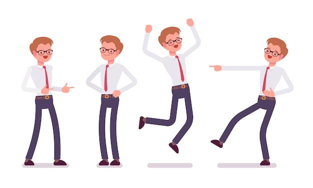 Set młody męski urzędnik pokazuje pozytywne emocje, frontowy widok