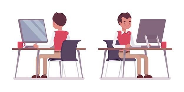 Set młody męski urzędnik przy biurowym biurkiem