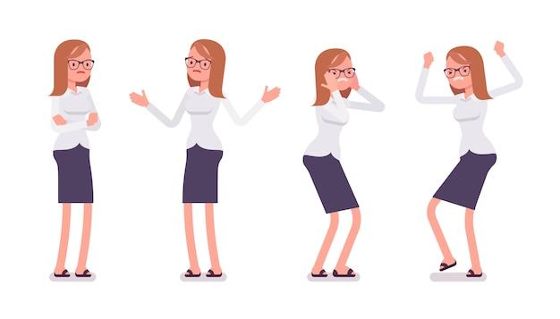 Set młody żeński urzędnik pokazuje negatywnych emocj frontowego widok