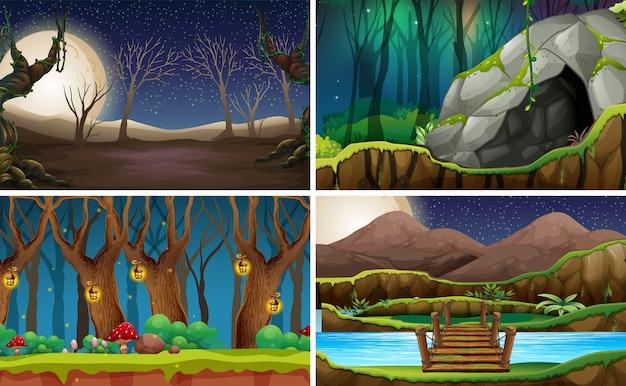 Set natura krajobraz przy nocą