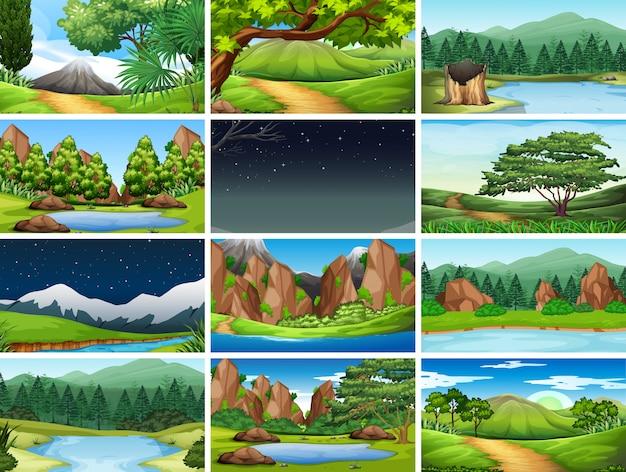 Set natury tło