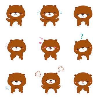 Set niedźwiadkowej twarzy kreskówki wyrażeniowy wektor.
