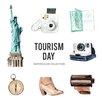 Set odosobneni elementy akwareli turystyki ilustracja