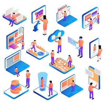 Set odosobneni isometric ludzie interfejsów z ikonami komputerowy wyposażenie i piktogramy z ludzką charakteru wektoru ilustracją