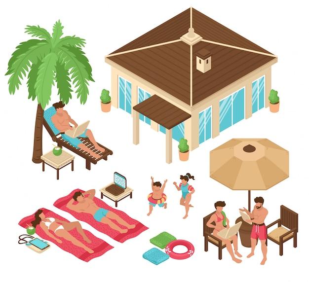 Set odosobneni isometric plażowego domu zwrotnika freelance zdalni ludzie pracują kolorowych wizerunki z ludzką charakteru wektoru ilustracją