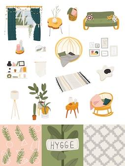 Set odosobnione ikony w hygge stylu, wygodny skandynawa domu wnętrze, ilustracja