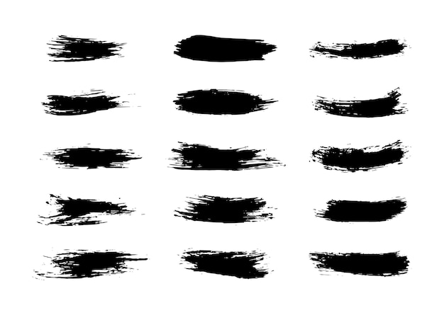 Set of grunge brushes strokes paint strokes with a dry brush abstract ink blots
