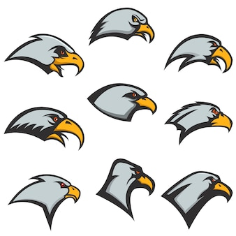 Set orzeł przewodzi ikony na białym tle. elementy, etykieta, godło. ilustracja.