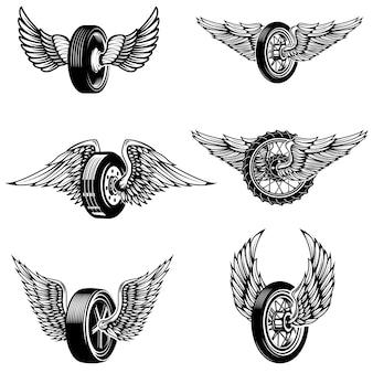 Set oskrzydlone samochodowe opony na białym tle. elementy logo, etykiety, godło, znak. ilustracja