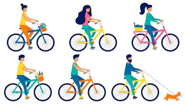 Set płascy wektorowi ludzie jedzie rowery. mężczyźni i kobiety na rowerach. kot, jedzenie i kwiaty w koszu. śliczny pies corgi biegnie. ilustracja w stylu cartoon