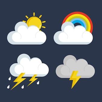 Set pogodowych status ikon wektorowy ilustracyjny projekt