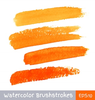 Set pomarańczowi akwareli muśnięcia uderzenia, ilustracja