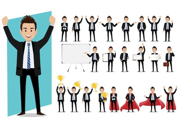 Set postać z kreskówki biznesmen w kostiumu w różnorodnych pozach wektorowych