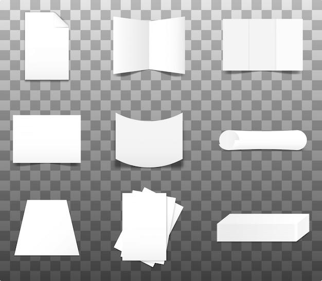 Set realistyczny papierowy makieta, wektor, ilustracja.