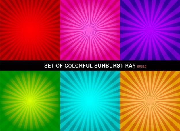 Set retro błyszczący kolorowy starburst tło