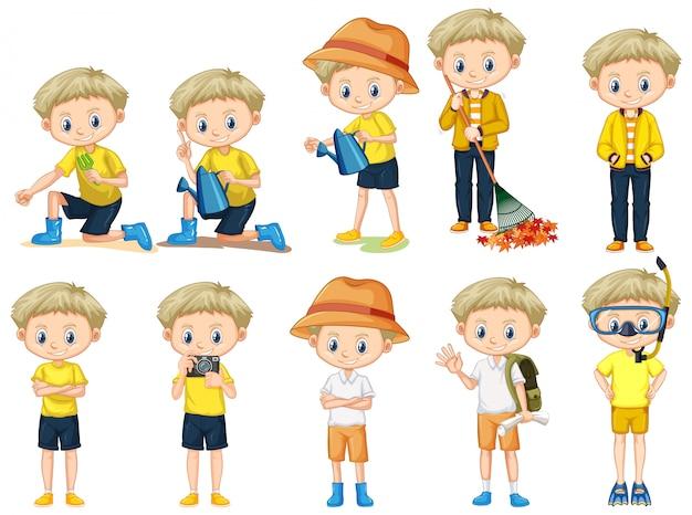 Set robi różnym aktywność na białym tle śliczna chłopiec