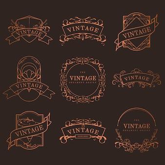 Set rocznik brązowe sztuki nouveau odznaki wektorowe