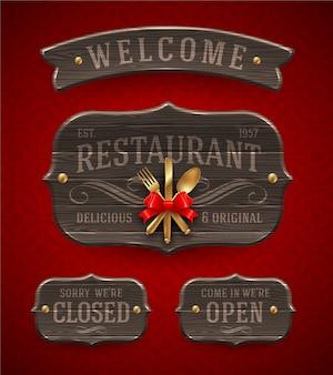 Set rocznik drewniana restauracja podpisuje z wystrojem i złotym cutlery - ilustracja.