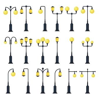 Set rocznik latarni ulicznej ilustracja odizolowywająca na białym tle