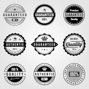 Set rocznik premii retro premii gwarantowanej odznaki loga ilustracyjny projekt