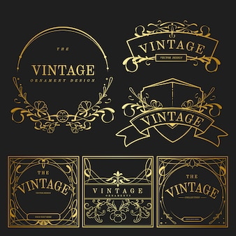 Set rocznik złote sztuki nouveau elementy wektorowi