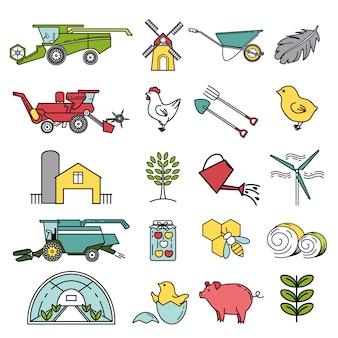 Set rolnictwo ikony w liniowym stylu